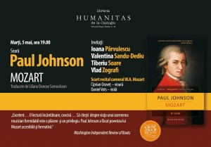 "Seară Paul Johnson, ""Mozart"" la Librăria Humanitas de la Cișmigiu"