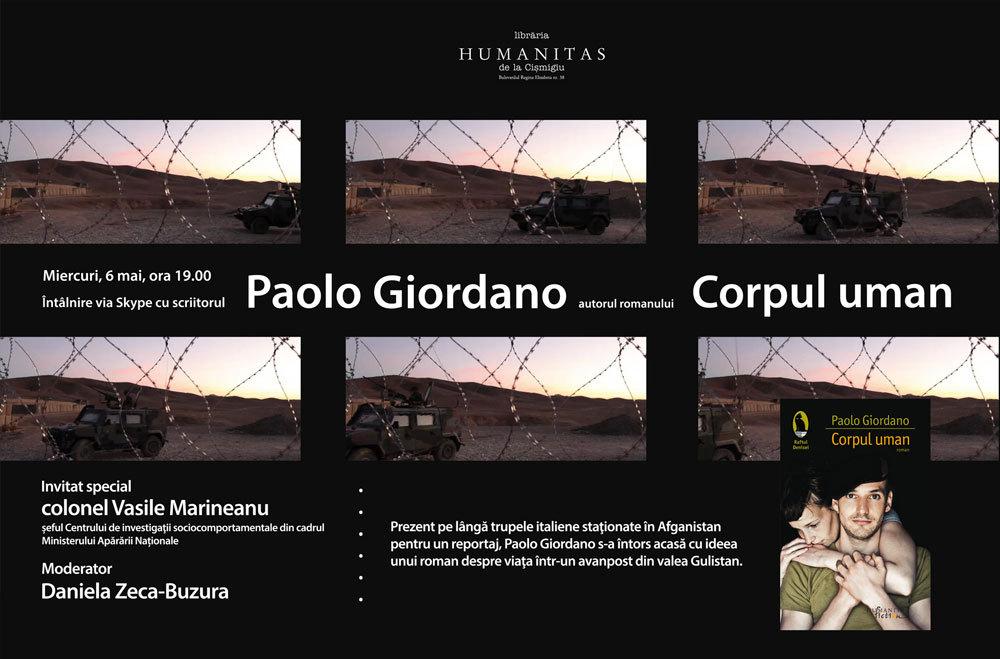 Scriitorul italian Paolo Giordano, în direct via Skype în Librăria Humanitas de la Cișmigiu