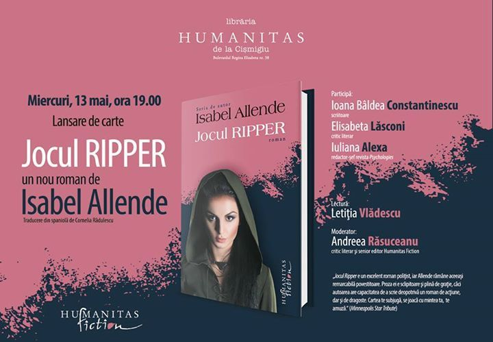 "Lansare ""Jocul Ripper"", de Isabel Allende"
