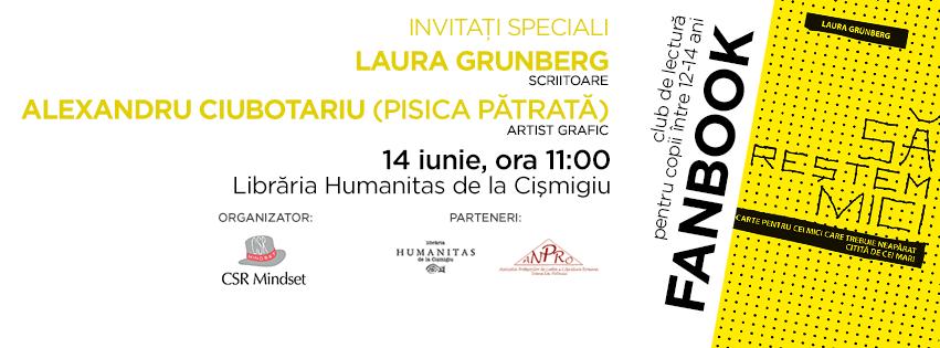 Fanbook, club de lectură pentru copii - Laura Grunberg și Pisica Patrată invitați speciali