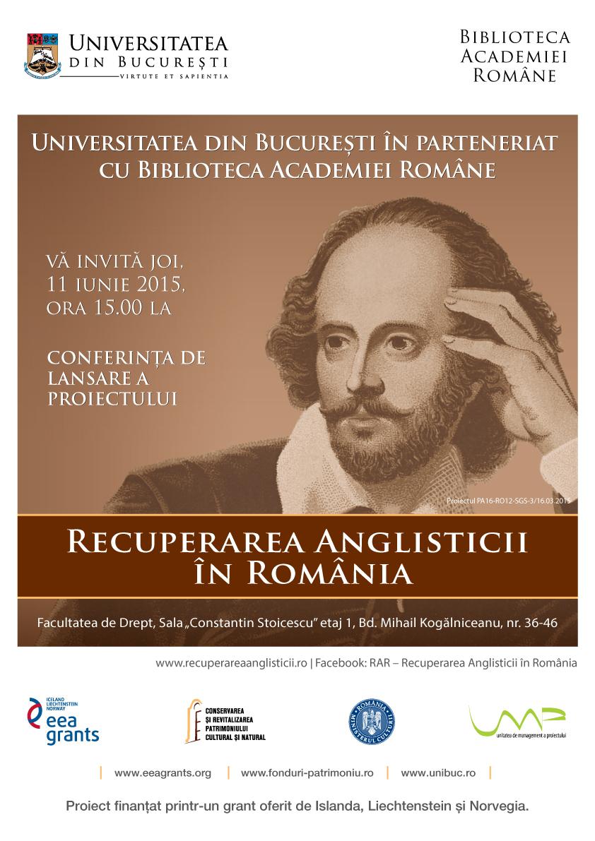"""Lansarea proiectul """"R.A.R.- Recuperarea Anglisticii în România"""""""