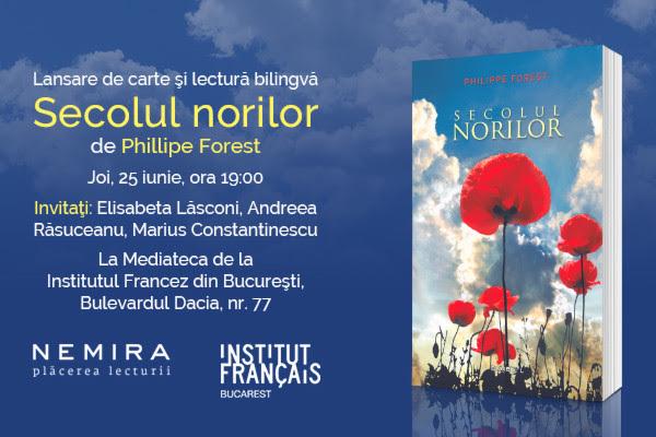 """Les jeudis littéraires încep cu lansarea romanului """"Secolul norilor"""", de Philippe Forest"""