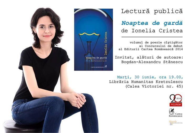 """Lectură publică """"Noaptea de gardă"""", de Ionelia Cristea"""