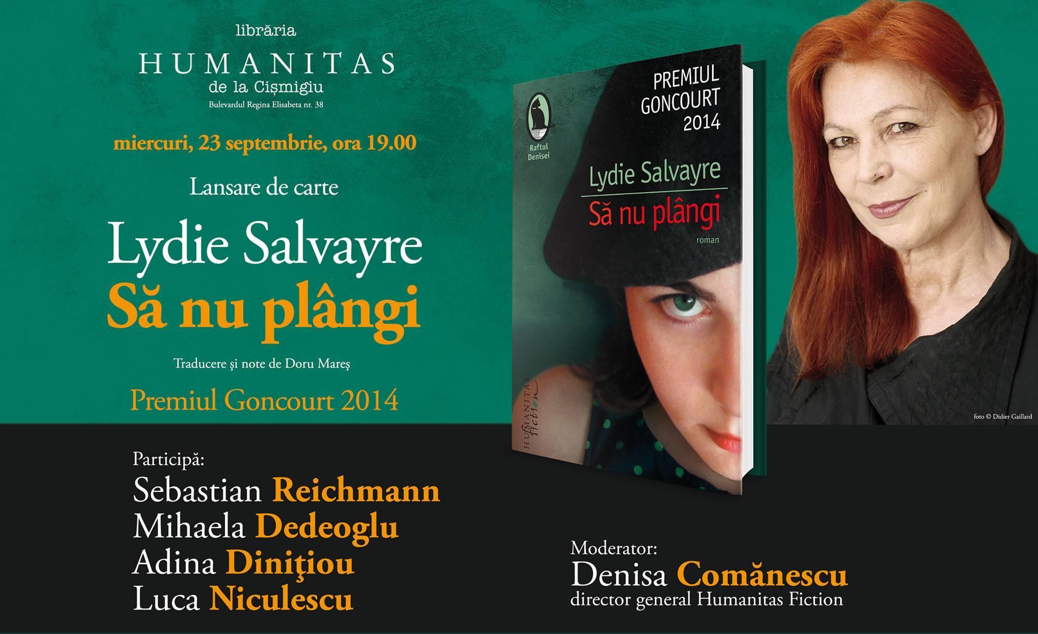"""Lansare de carte: Lydie Salvayre - """"Să nu plângi"""", premiul Goncourt 2014"""