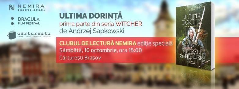 """Clubul de lectură Nemira în deplasare: """"The Witcher"""" vine la Braşov!"""