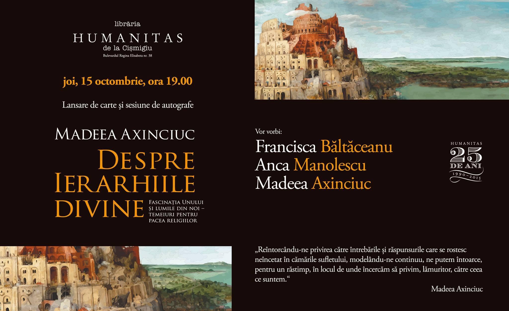 """""""Despre ierarhiile divine"""" cu Francisca Băltăceanu, Anca Manolescu şi Madeea Axinciuc"""