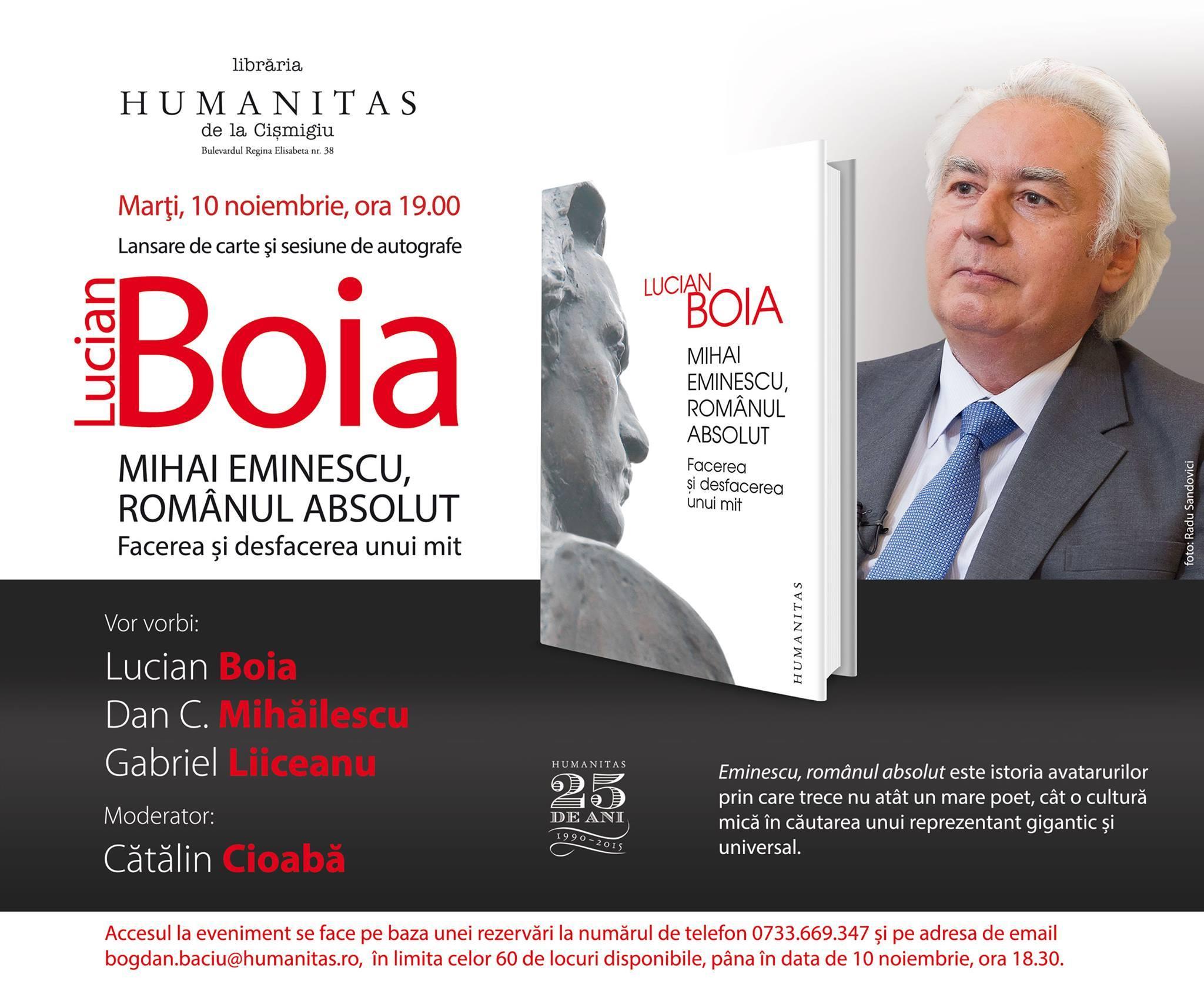 """Lansare """"Mihai Eminescu, românul absolut"""", de Lucian Boia"""