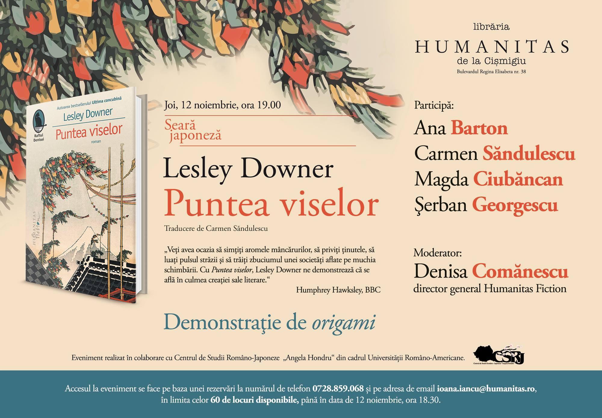 """Seară japoneză: """"Puntea viselor"""", de Lesley Downer"""