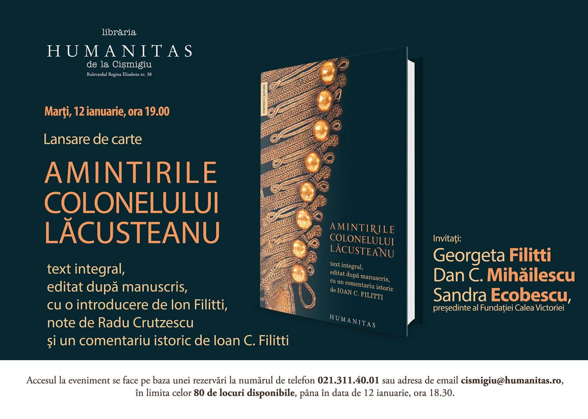 Despre ediţia integrală a amintirilor lui Grigore Lăcusteanu cu Georgeta Filliti, Dan C. Mihăilescu şi Sandra Ecobescu