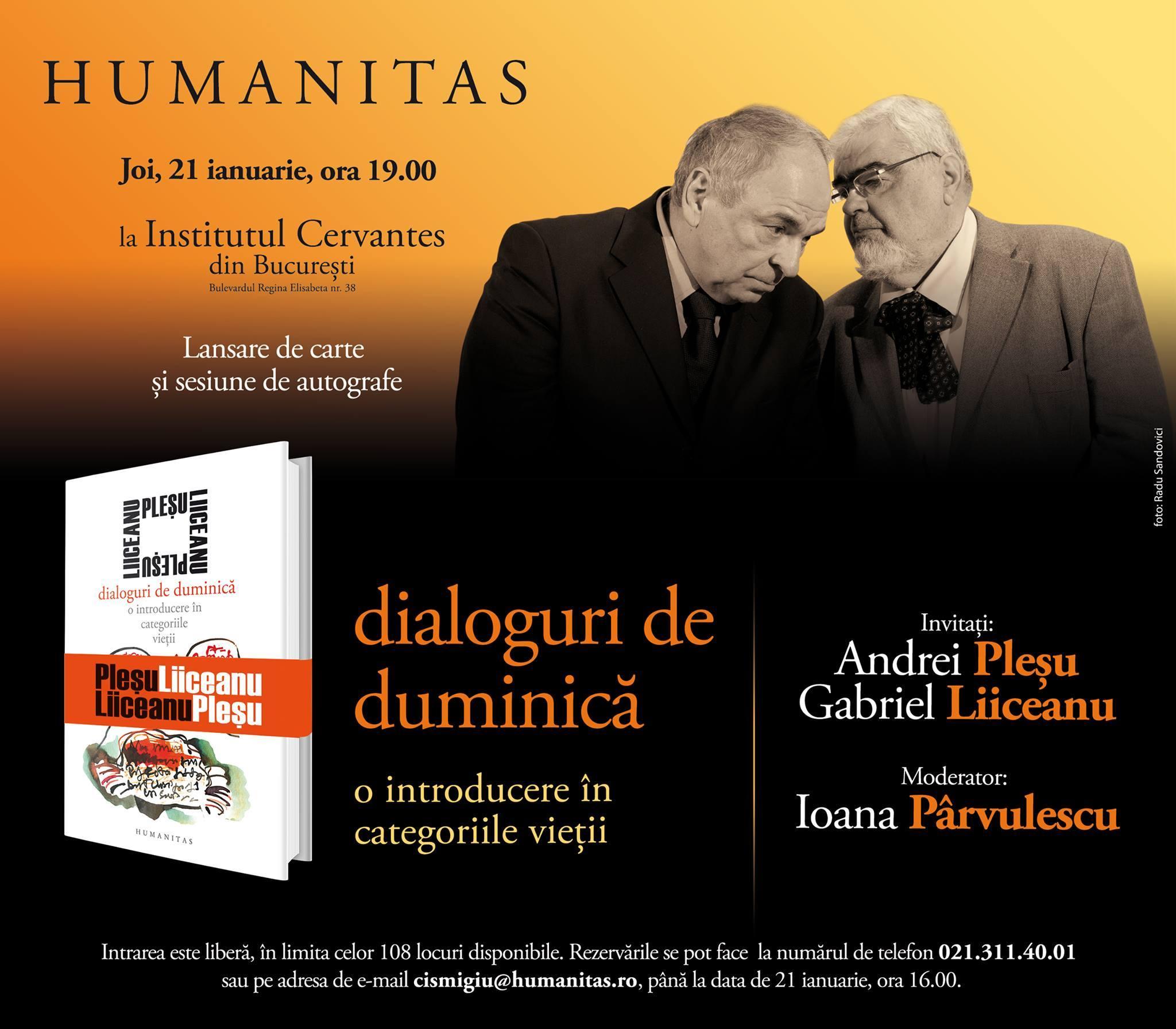 """Andrei Pleşu, Gabriel Liiceanu şi Ioana Pârvulescu despre """"Dialoguri de duminică. O introducere în categoriile vieţii"""""""
