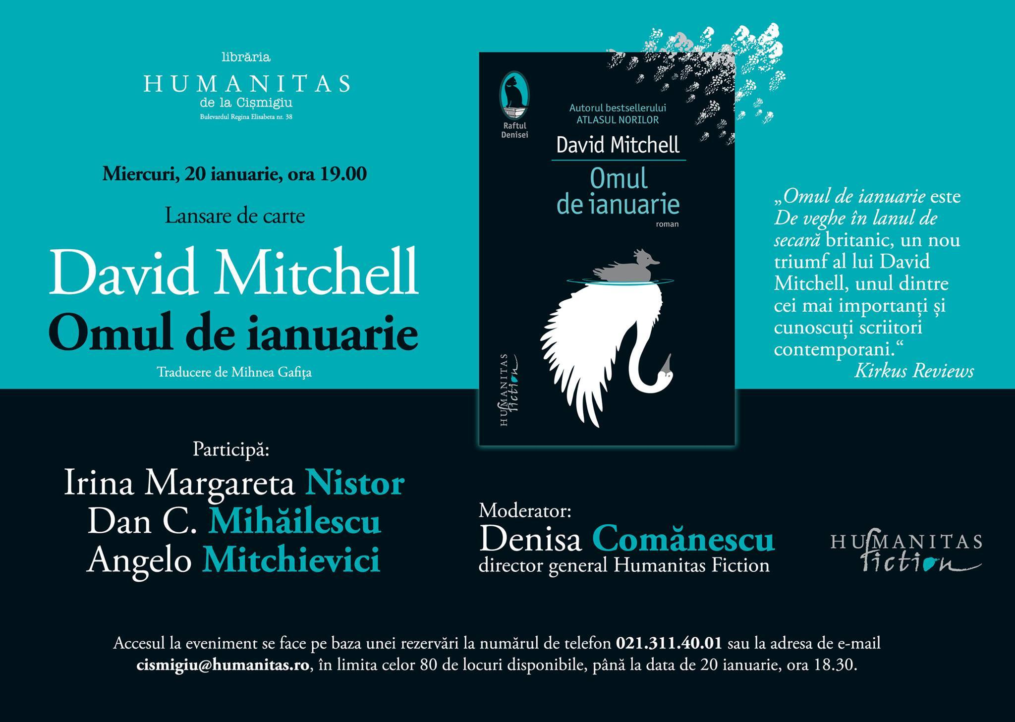 """Seară David Mitchell, """"Omul de ianuarie"""""""
