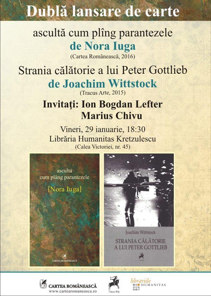 Dublă lansare la București: Nora Iuga și Joachim Wittstock