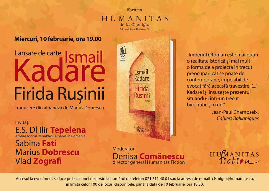 """Lansare, """"Firida rușinii"""", de Ismail Kadare"""