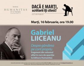 Gabriel Liiceanu, lectură publică în premieră dintr-un nou volum în curs de apariţie la Humanitas