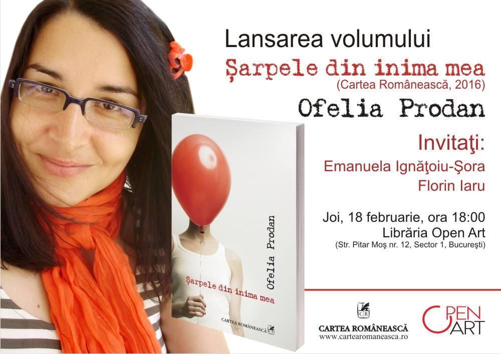 """Lansare """"Şarpele din inima mea"""", de Ofelia Prodan"""