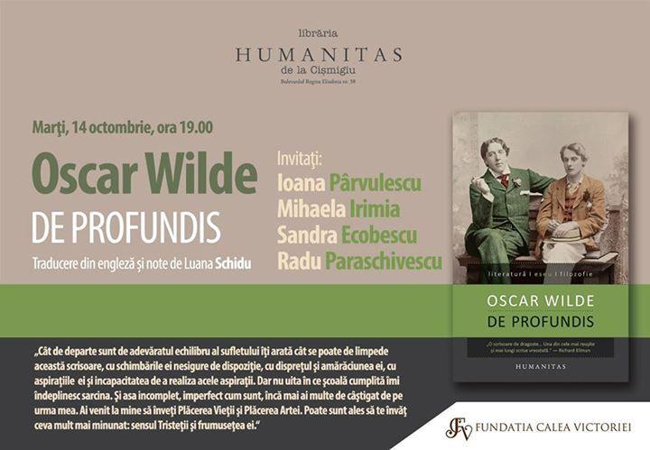 """Lansare Oscar Wilde, """"De Profundis"""""""
