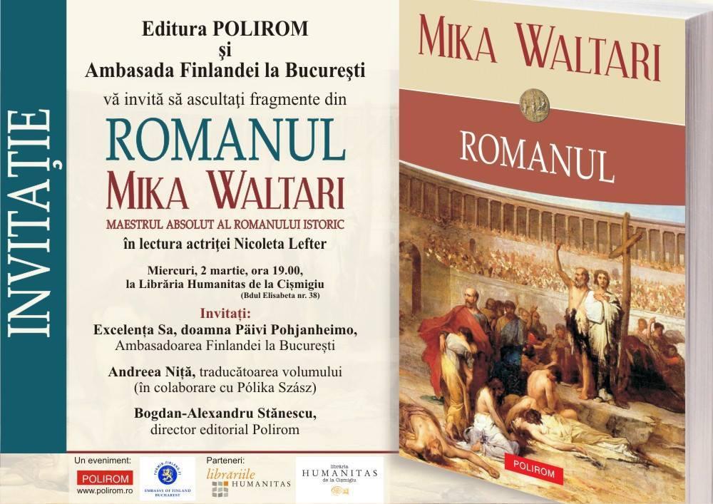 """Lansare """"Romanul"""", de Mika Waltari"""