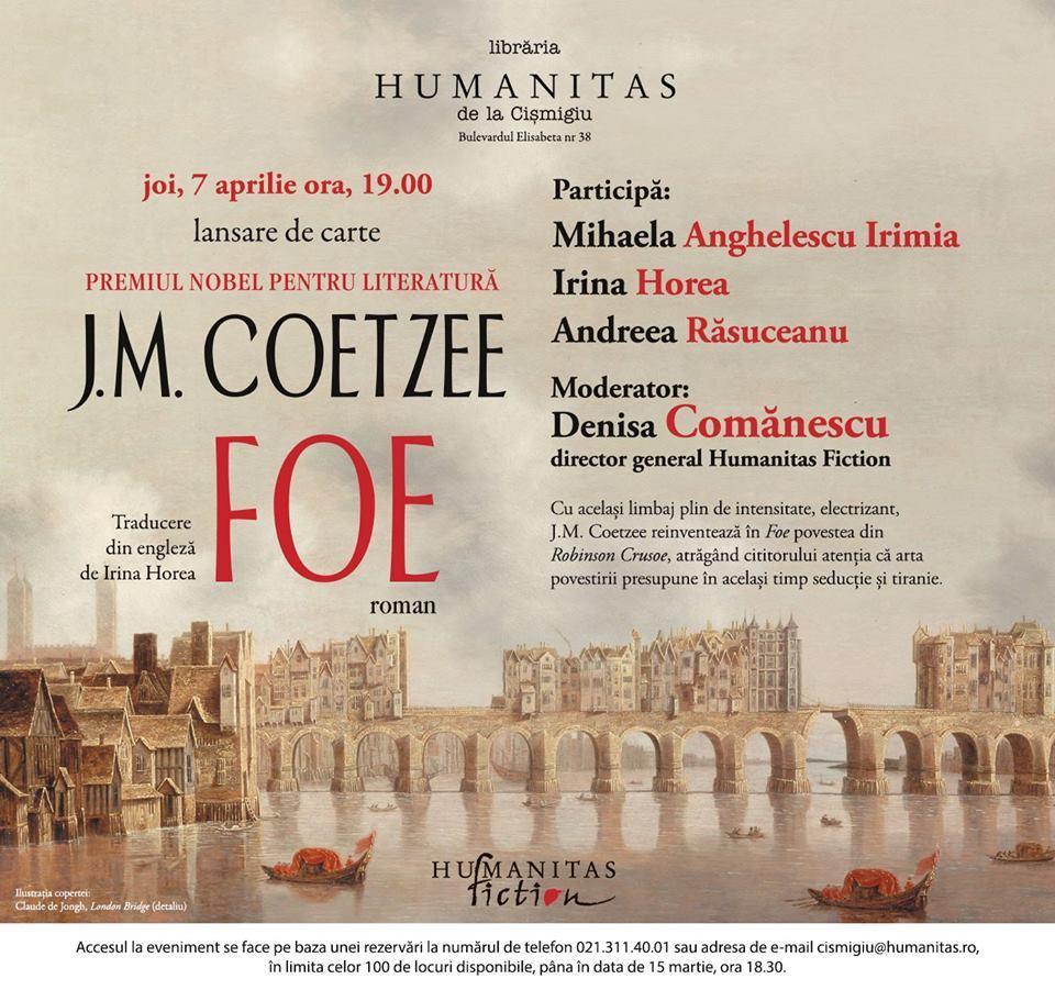 """Lansarea romanului """"Foe"""" de J.M. Coetzee"""