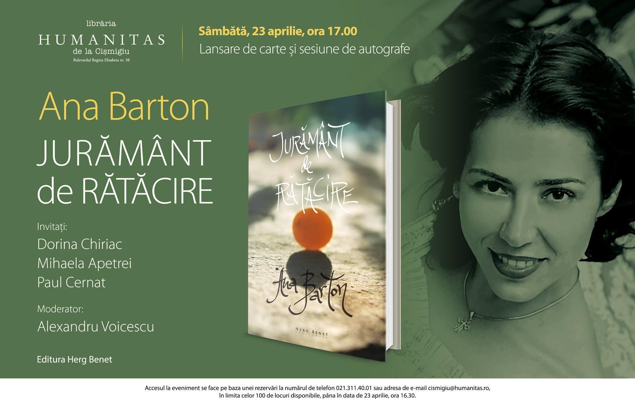 """Lansare """"Jurământ de rătăcire"""", de Ana Barton"""