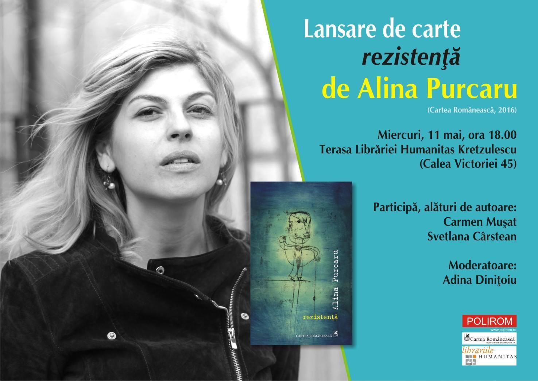 """Lansare de carte, """"rezistență"""", de Alina Purcaru"""