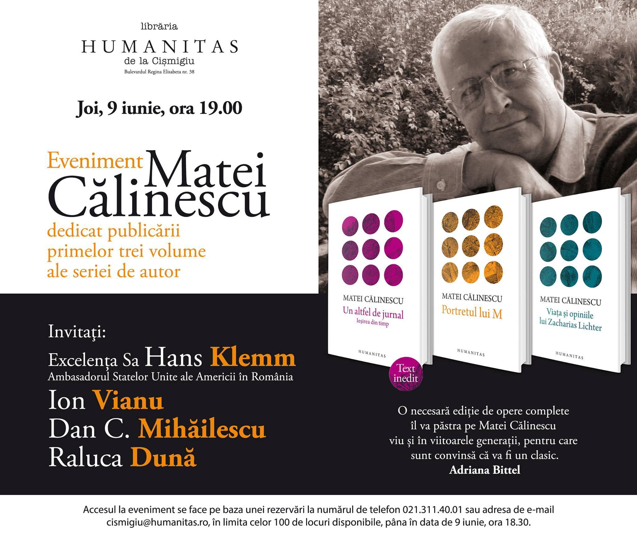 Eveniment Matei Călinescu la Humanitas Cișmigiu