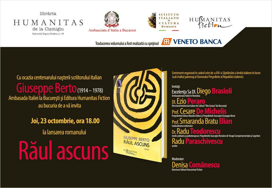 """Lansarea romanului """"Răul ascuns"""", de Giuseppe Berto"""