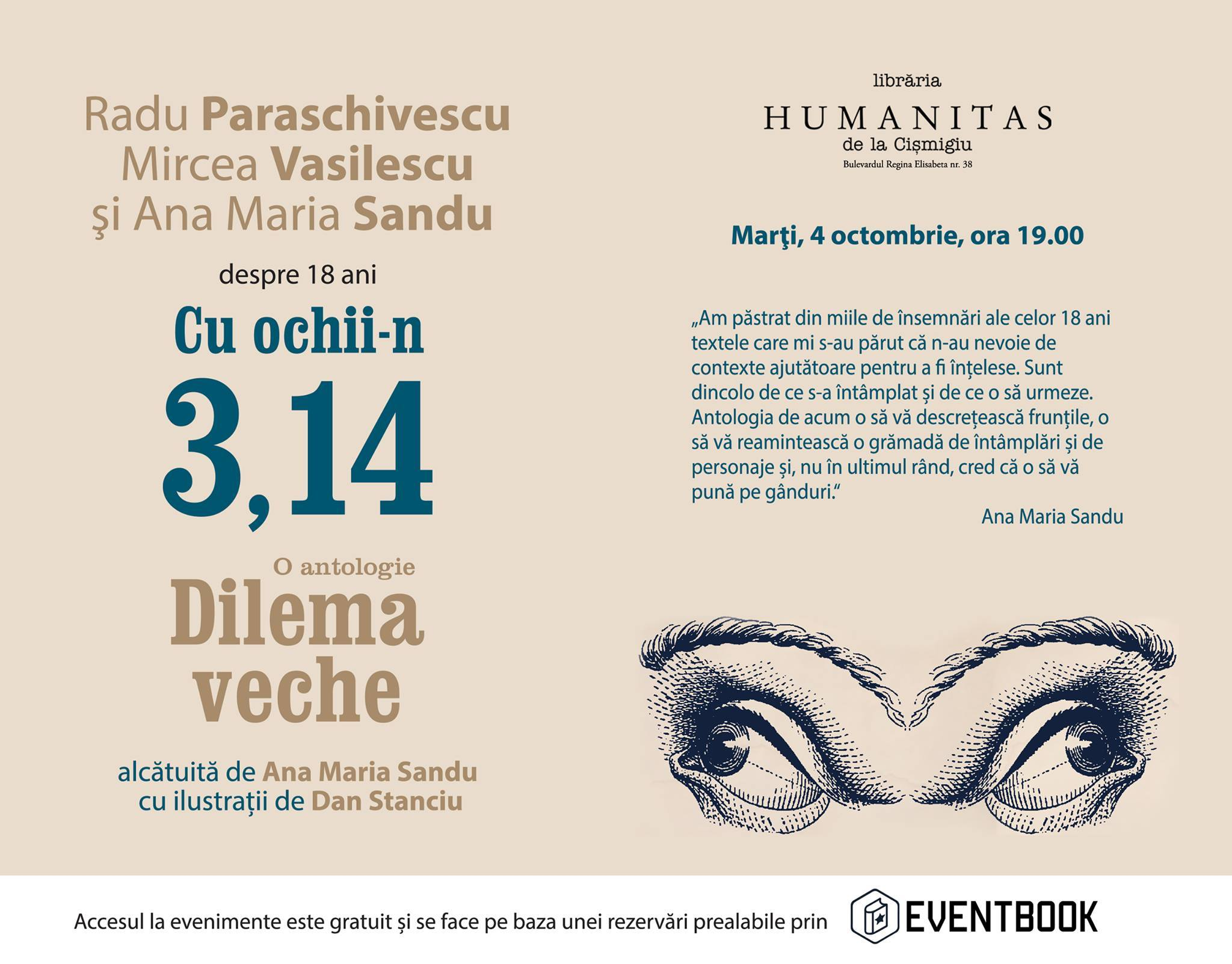 """Cu ochii-n 3,14"" la Librăria Humanitas de la Cişmigiu"