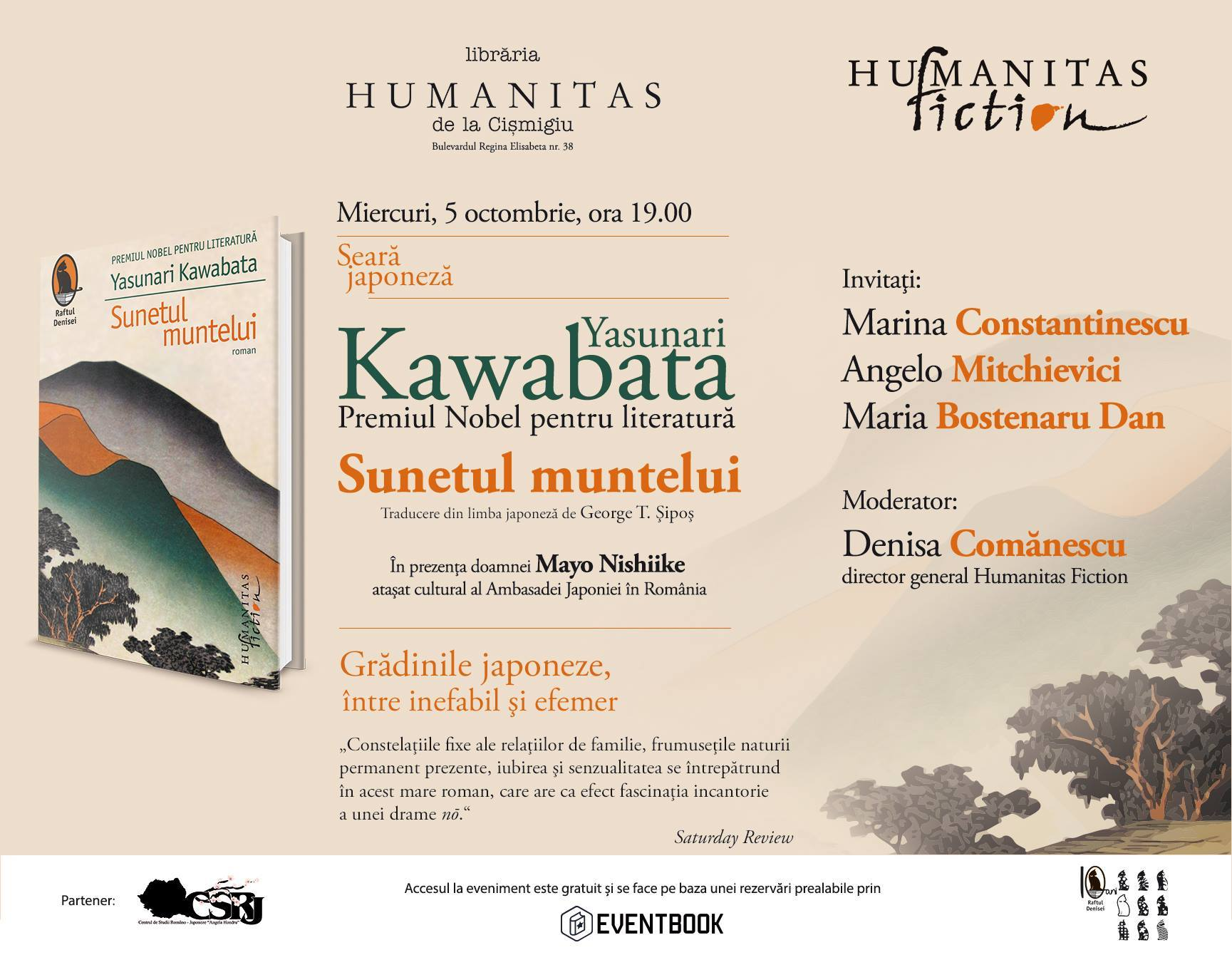 """Seară japonez- """"Sunetul muntelui"""", de Yasunari Kawabata"""