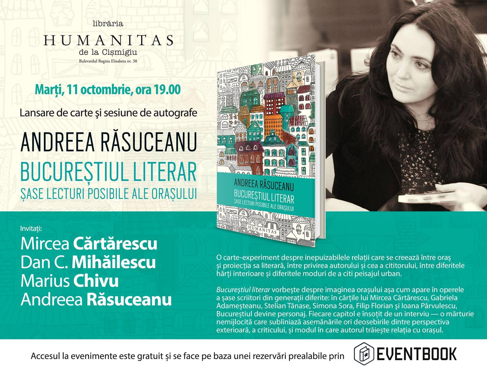 """""""Bucureştiul literar"""" în dezbatere la Librăria de la Cişmigiu"""