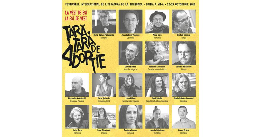 Scriitorii invitați la Festivalul Internațional de Literatură de la Timișoara 2018
