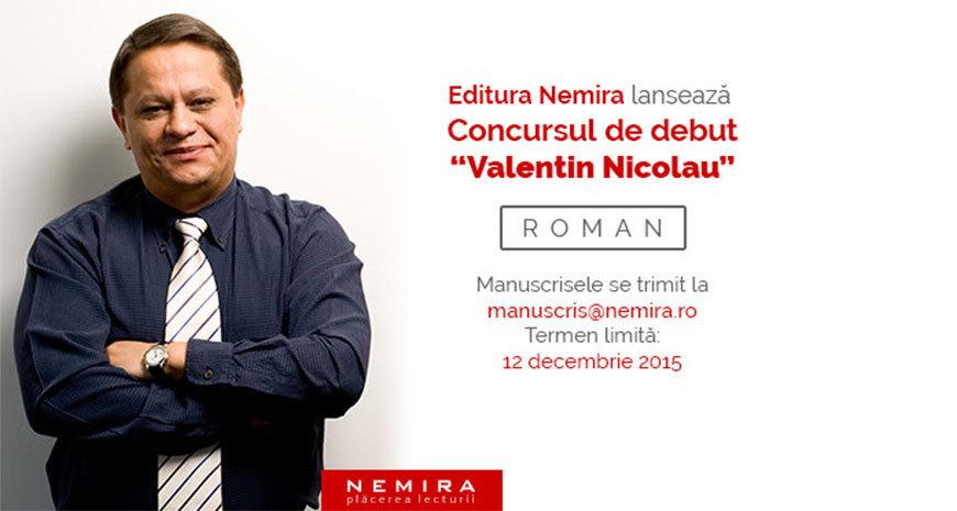 """Editura Nemira lansează concursul de debut """"Valentin Nicolau"""""""