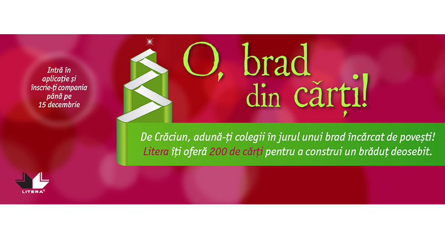 """Editura Litera oferă 2000 de cărți companiilor,  în cadrul campaniei """"O, brad din cărți!"""""""